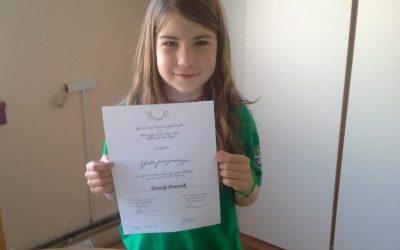 Naša učenka dobitnica zlatega priznanja iz znanja klekljanja